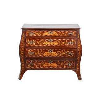 Ca. 1760 Four Drawer Dark Mahogany Bow Front Chest with Inlaid Flowers