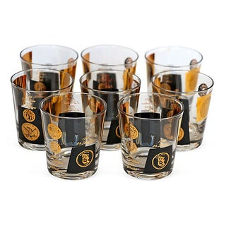 Mid-Century Lowball Coin Glasses - Set of 8