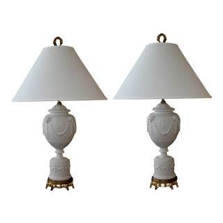 American Wedgwood Style White Bisque Porcelain Baluster-Form Lamps; Kessler