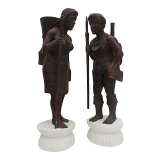 Vintage Art Hand Carved Solid Wood Primitive Human Figures - a Pair