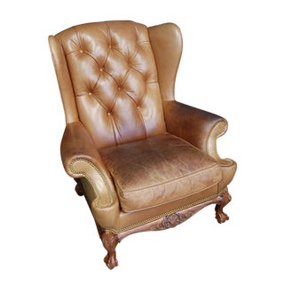 Vintage Hancock & Moore British Leather Chesterfield Wingback Chair