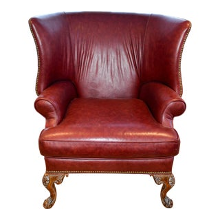 Century Leather Red Wingback Lombard Chair