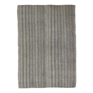 Striped Gray Turkish Kilim Rug - 6′2″ × 8′10″