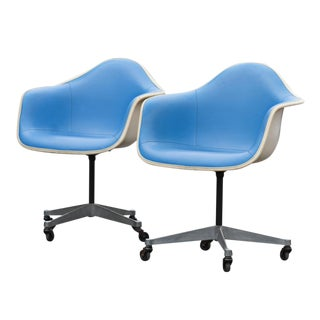 Herman Miller Blue Vinyl Shell Chairs - A Pair