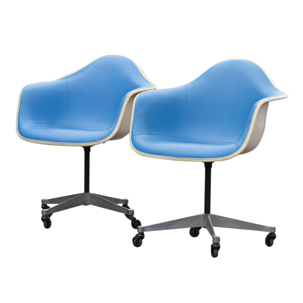 herman miller blue vinyl shell chairs a pair