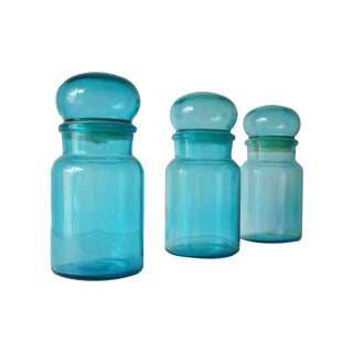Mid-Century Turquiose Blue Glass Canisters