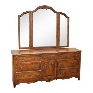 Ethan Allen Country French Dresser w/ Trifold Mirror