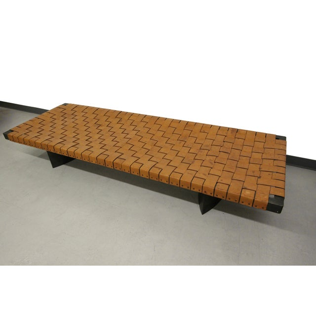 Industrial Woven Leather and Steel Bench Table - Image 2 of 7