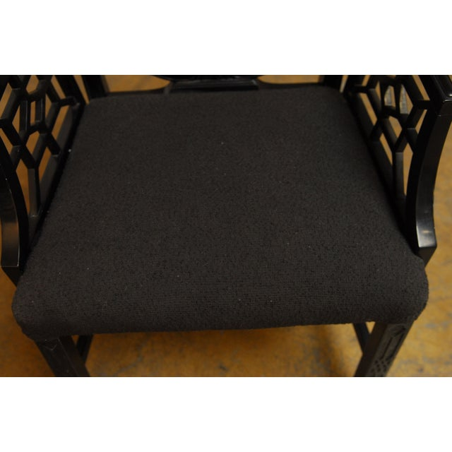 Image of Black Lacquer Chinese Chippendale Armchair - Pair