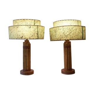 Mid Century Rattan Tiki Lamps - A Pair