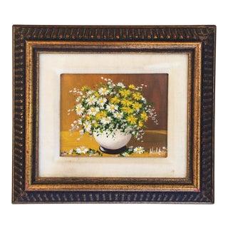 Floral Daisy Still Life Oil Painting Gold Framed