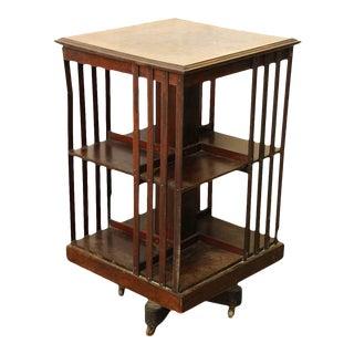 Spinning Wooden Bookshelf Cart