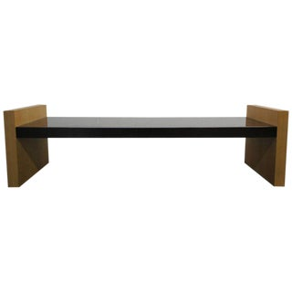 Minimalist Post Modern Deco Style Teak and Enamel Bench
