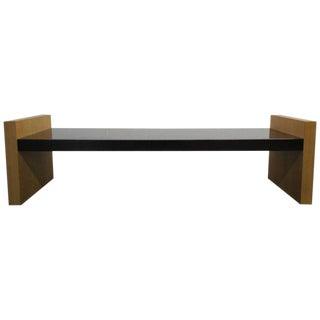 Minimalist Post Modern Deco Style Teak and Enamel Bench