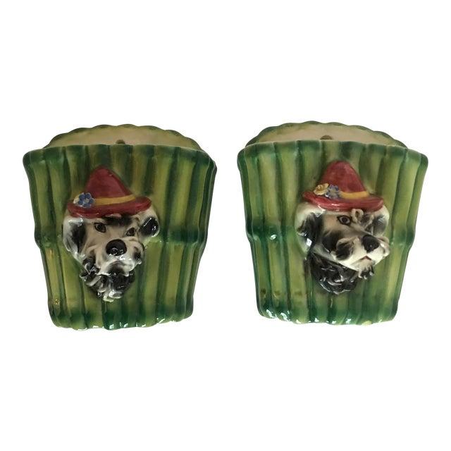 Italian Terrier Dog & Bamboo Wall Pockets - A Pair - Image 1 of 11