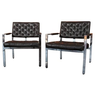Black Milo Baughman Tufted Lounge Chairs - A Pair