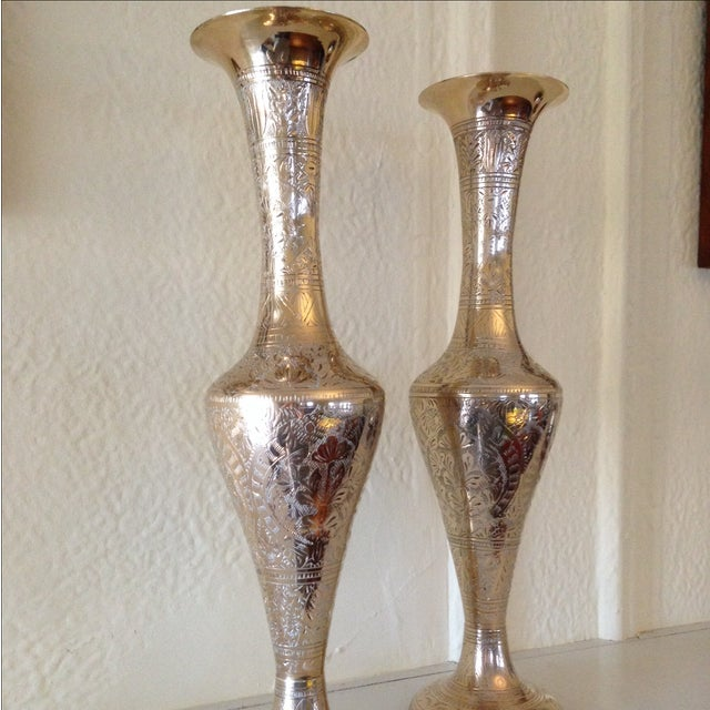 Tall Vintage Brass Vases - a Pair - Image 4 of 9