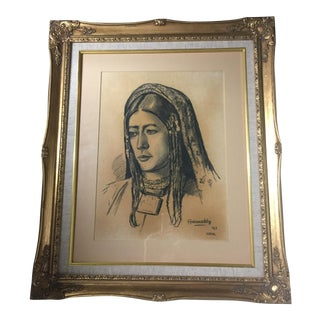 1963 Mid-Century Charcoal Sketch Signed Ghaussuddin