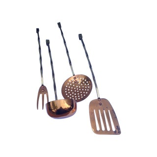 Brass & Copper Kitchen Utility Tools - Set of 4