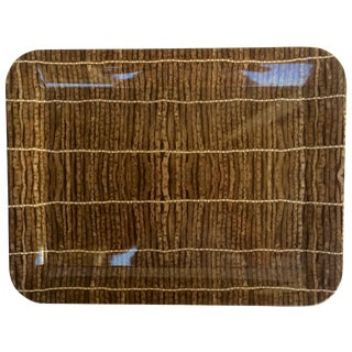 Vintage Brown Twig Print Plastic Tray
