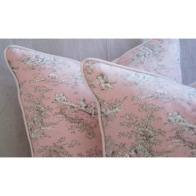 Designer French Pink Toile & Velvet Feather/Down Pillows - Pair - Image 4 of 11