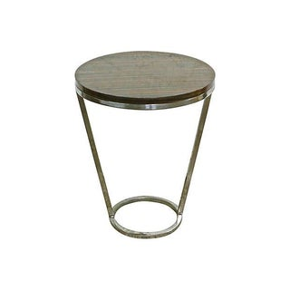 Art Deco Style Zebrawood & Chrome Side Table