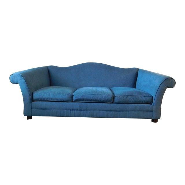 Bernhardt Blue Camel Back Sofa - Image 1 of 4