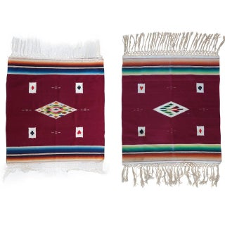 Vintage Serapi Card Table Weavings - Pair