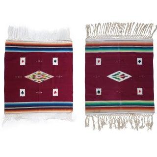 Vintage Serapi Card Table Weavings - Pair