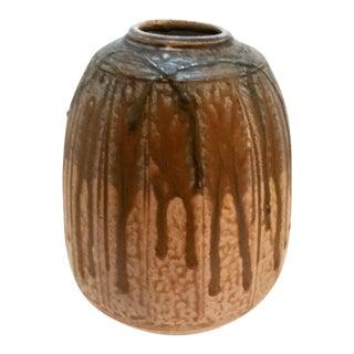 Mid-Century Brown Drip Glaze Vase