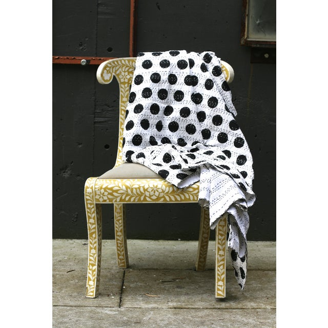 Black Polka Dot Throw - A Full - Image 3 of 4