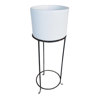 Mid-Century Gainey White Pot and Iron Stand