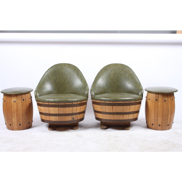 Oak Barrel Seating with Stools - Set of 4 - Image 3 of 7