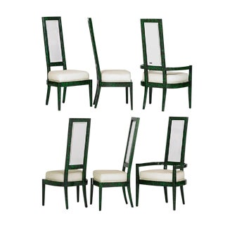 Malachite & Lucite Chairs by Charles Hollis Jones, 1970 - Set of 6