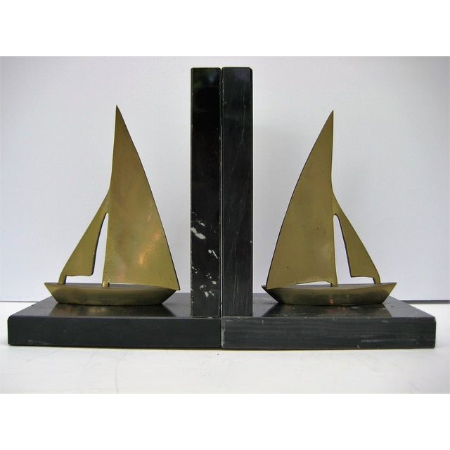 Mid-Century Brass Sailboat Bookends - Pair - Image 8 of 9