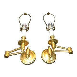 Tisserant Gilt Bronze Antibes Swing Arm Wall Lights - A Pair