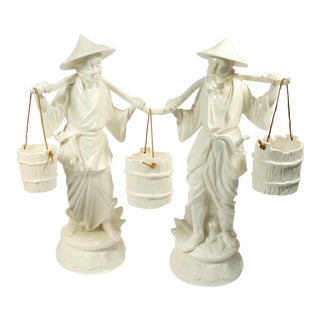 Vintage Ceramic Japanese Figures - A Pair