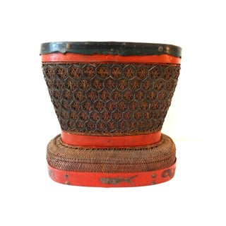 Antique Red & Brown Chinese Wedding Basket