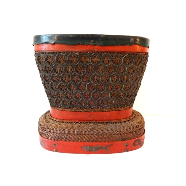 Asian Wedding Gift Baskets: Antique Red & Brown Chinese Wedding Basket