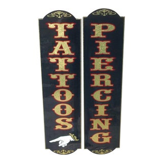 Tattoo & Piercing Steel Signs - A Pair