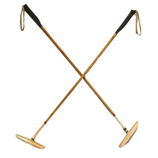 Vintage Bamboo Polo Mallets - a Pair