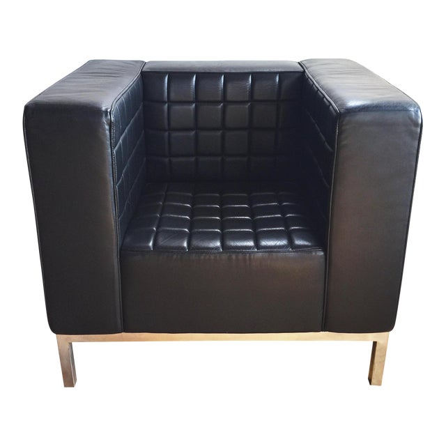 Image of Custom Leather Tufted Club Chair
