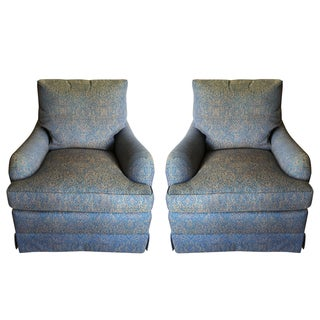 Baker Swivel Club Chairs - A Pair