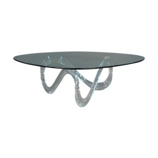 Modern Lucite Infinity Base Table With Glass Top