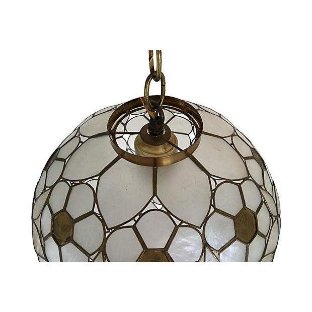 mid century capiz globe pendant light chairish. Black Bedroom Furniture Sets. Home Design Ideas