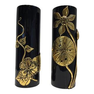 Asian Inspired Ceramic Vases - A Pair