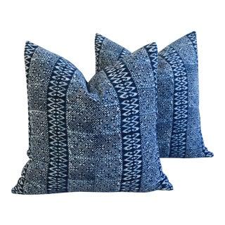 Indigo Blue & White Hand Blocked Batik Feather/Down Pillows - Pair