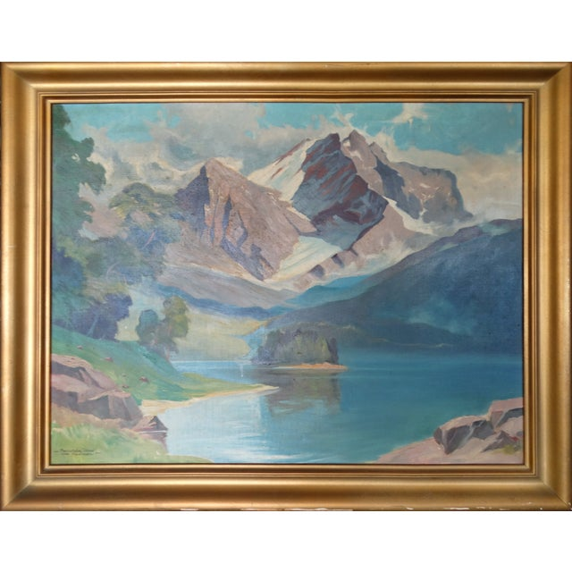 1950 Mountain Range Landscape Oil Painting - Image 1 of 10