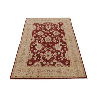Pakistani Hand-Knotted Wool Rug - 4′3″ × 5′11″