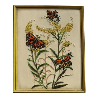 Vintage Butterflies & Flowers Embroidery Framed